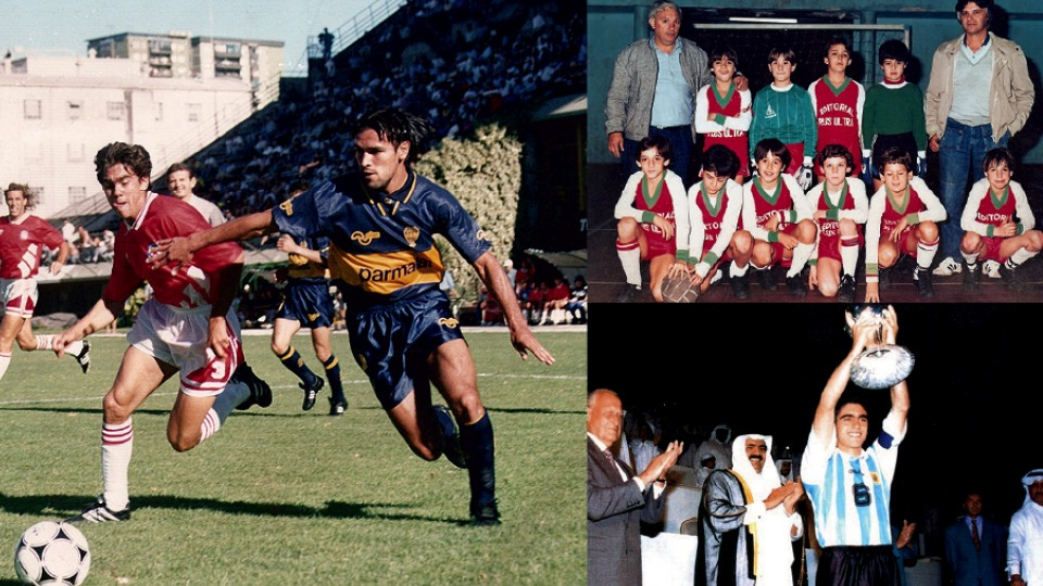 """Em sentido horário, de vermelho, pelo Argentinos Juniors contra o Boca Juniors, """"depois de dar uma caneta em Gamboa""""; com o treinador Ramon (de casaco cinza) e já com a """"faixa"""" de capitão; levantando a taça da Copa do Mundo Sub-20, no Qatar, em 1995"""