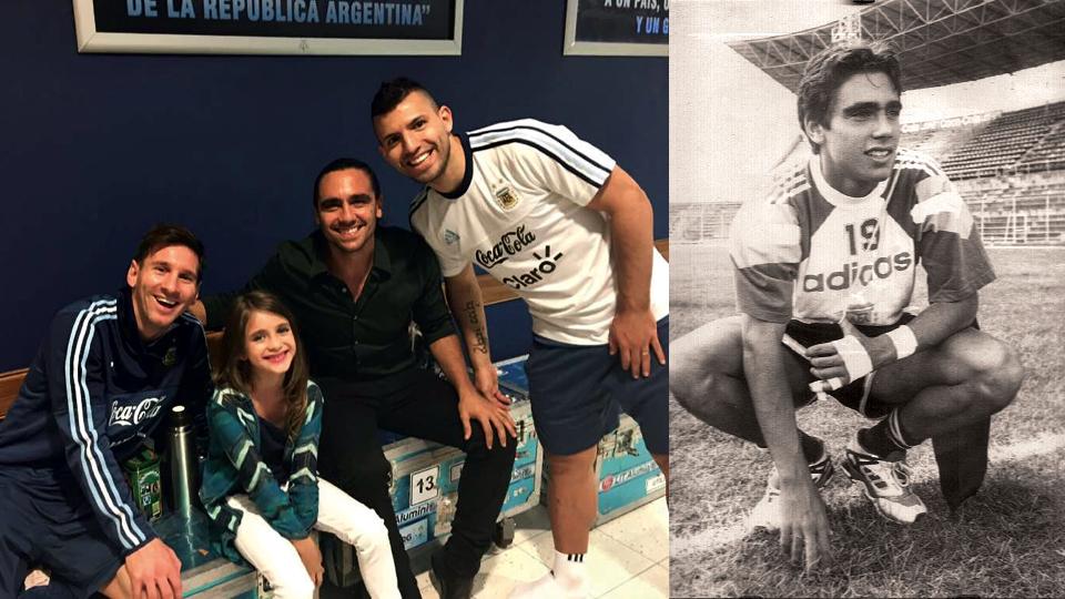 Com a filha Elisabetta, em encontro com Messi e Aguero; com a seleção sub-20 da Argentina, no Sul-Americano de 1995