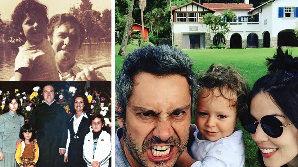 Com as irmãs e os pais: quando a mãe morreu Nero tinha 14 anos e o pai, quando ele tinha 17, ambos de câncer; no colo do pai, quando criança; com a mulher, Karen, e o filho, Noá