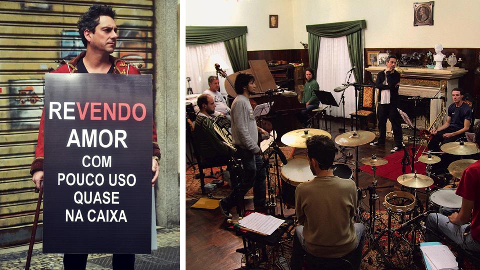 """Capa do DVD de Nero, lançado em 2014; e no ensaio com a banda no casarão em que ocorreram as gravações de """"Revendo amor com pouco uso quase na caixa"""""""