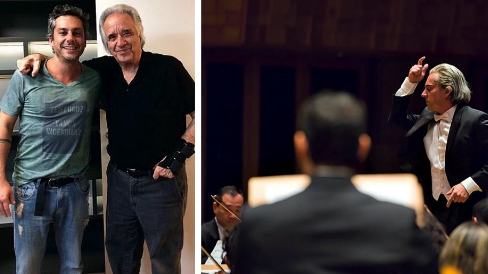"""Com João Carlos Martins; e em cena interpretando o artista no filme """"João, o maestro"""", de Mauro Lima"""