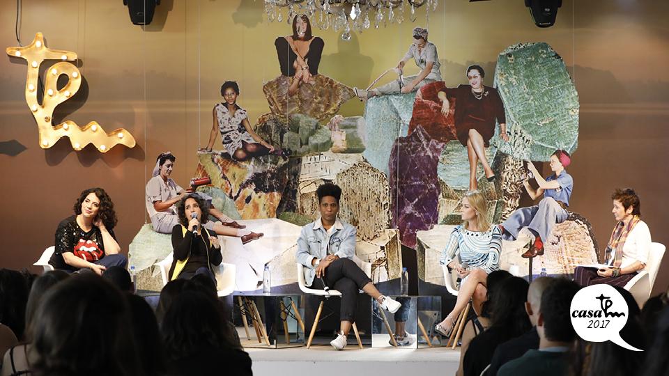 A atriz Martha Nowill, a psicanalistaMaria Lucia Homem, a cantoraMahmundi, a executiva e diretora do Santander,Maria Eugênia López, e Milly Lacombe debatem os prazeres e angústias femininas