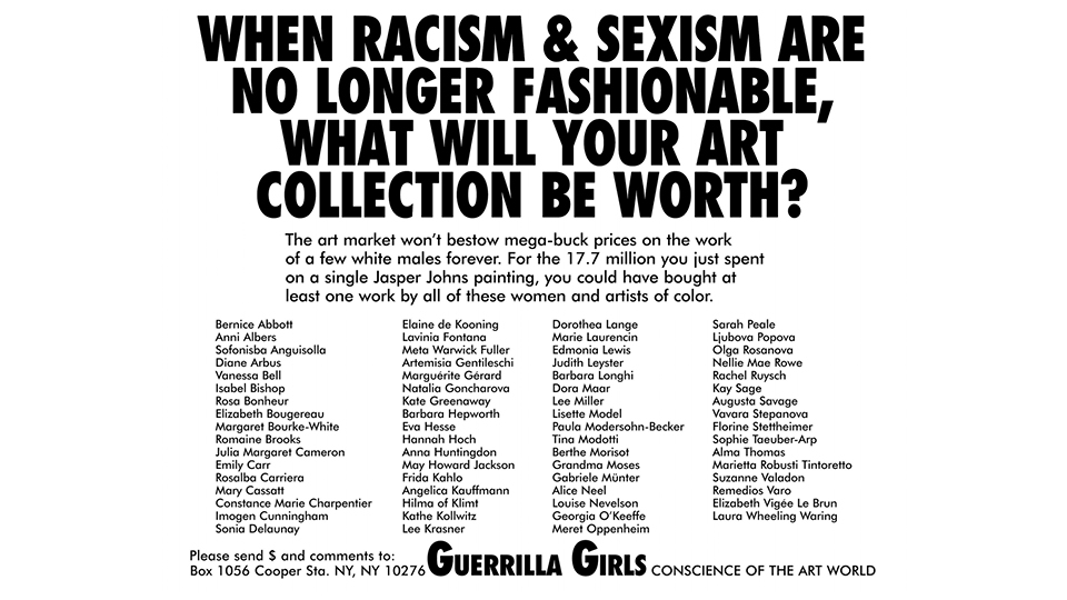 Guerrilla Girls questionam racismo e sexismo no mercado da arte