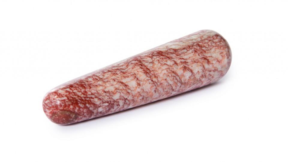 Dildo em pedra maciça rosa lapidado artesanalmente