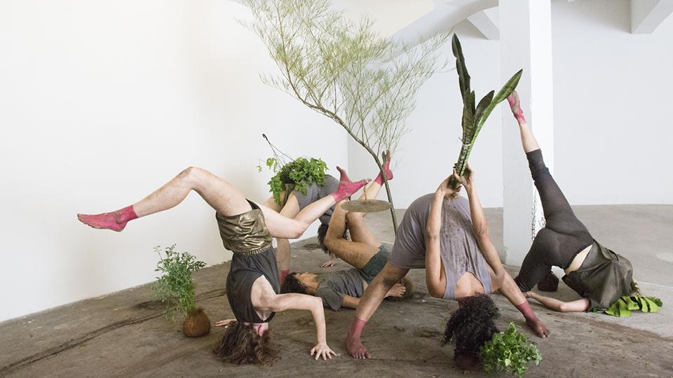 A obra Monstra sugere conjuntos de mulheres-planta, construindo a cada novo corte uma estranha totalidade