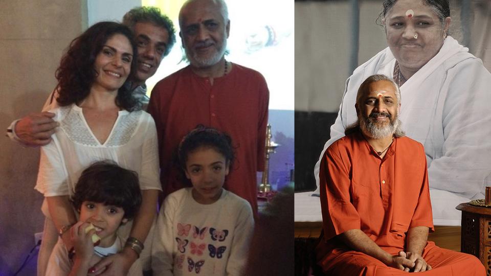 Renata e sua família, ao lado de Swami Ramakrishnananda Puri. À dir., o monge em frente à imagem da Amma