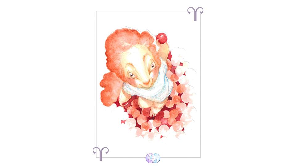 Sol e asc. em Áries: Áries é o primeiro signo, então essa criança vem com o impulso fundamental do nascimento. Ela surge do fundo de uma piscina de bolinhas, ou do calor uterino, e se lança ao início de si