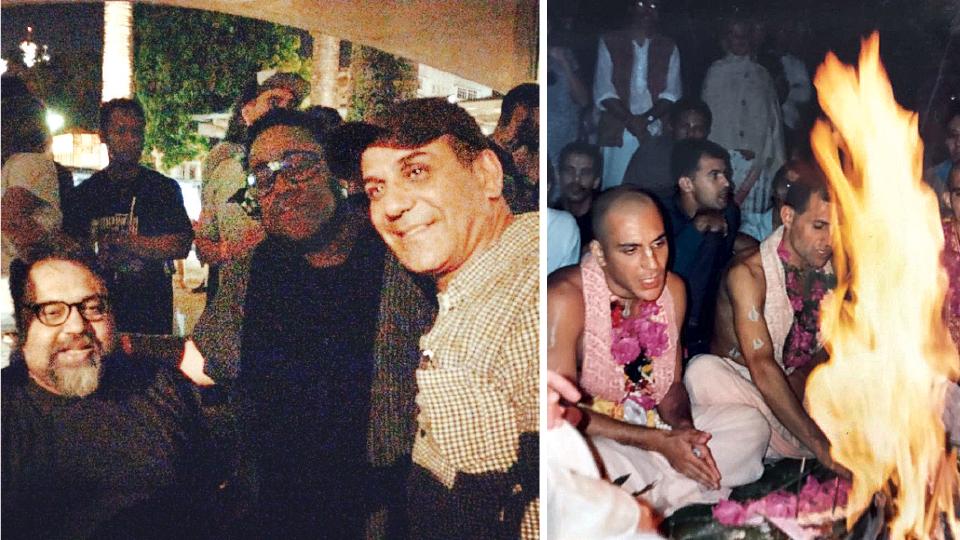 Com os amigos músicos Marcelo Yuka e Bnegão; e careca nos tempos em que morava em um templo hare krishna