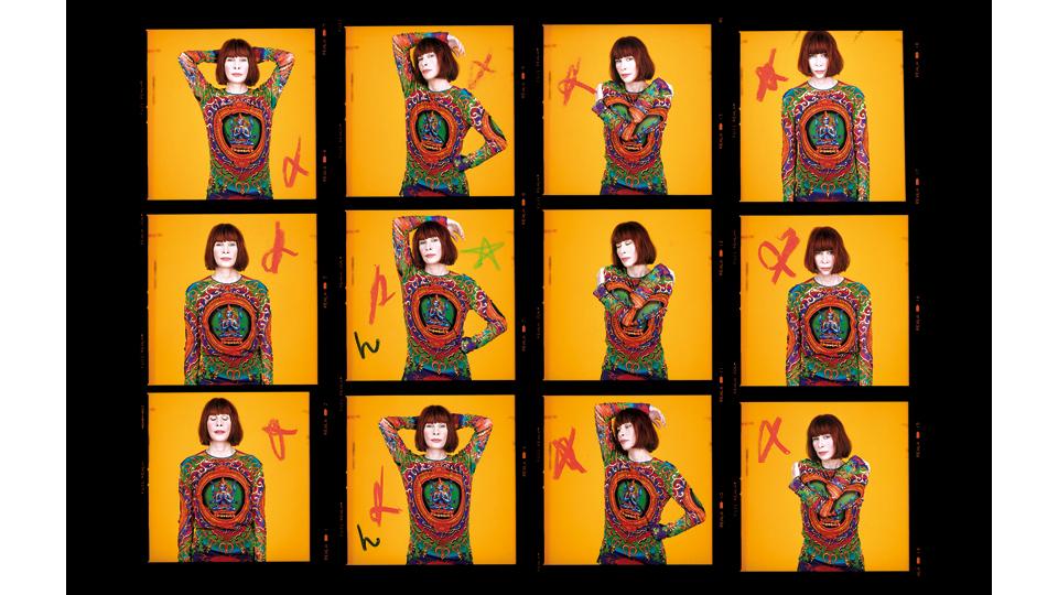 Contato dos retratos de Rita Lee com anotações de Bob