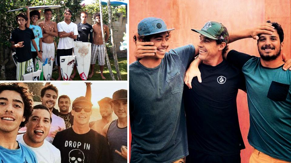 À dir., com Yago e Ricardinho dos Santos; à esq., no Havaí com vários surfistas da nova geração