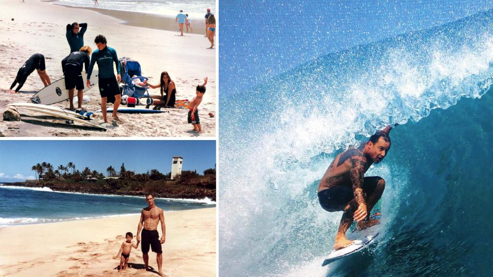 Com a família em São Francisco do Sul; com Yago em Waimea, no Havaí; e surfando na Indonésia