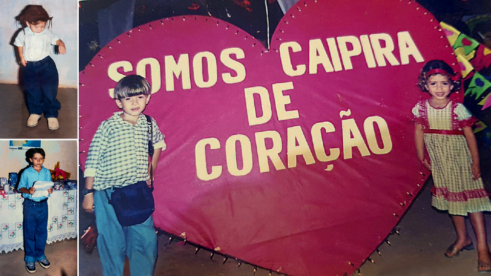 Da esq. para a dir., criança no Piauí; lendo um poema em reunião de fim de ano da família; e com uma prima na festa de São João