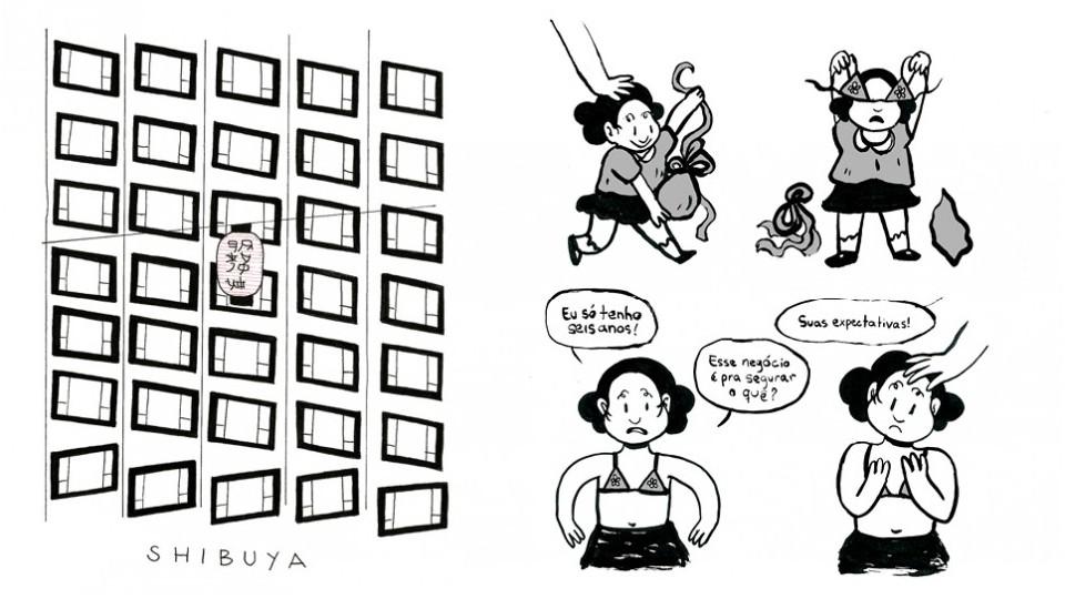 Ilustração de viagem ao Japão de Juliana Azevedo e tira de Aline Lemos