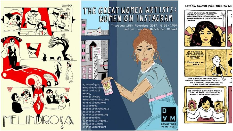 À esquerda e direita, trabalhos da quadrinista Aline Lemos, ao centro, cartaz da exposição do The Great Women Artists, em Londres
