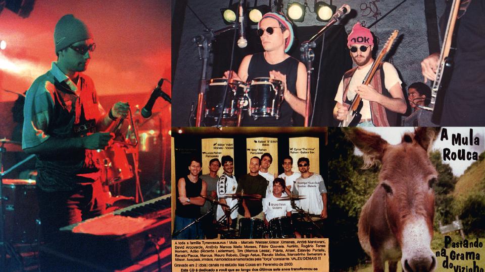 Três momentos percussionista: à esq., show em Caxambú (MG), em 1998; acima, apresentação na UERJ, em 1994; e o CD da Mula Rouca