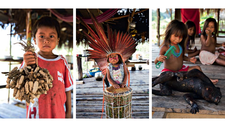 Três momentos com crianças da aldeia: garoto com amendoim, presente em todas as refeições do povo Huni Kuin; garotinha se aventurando na percussão, a música é onipresente no dia a dia das aldeias; e brincando perto de um macaco que seria preparado para o jantar