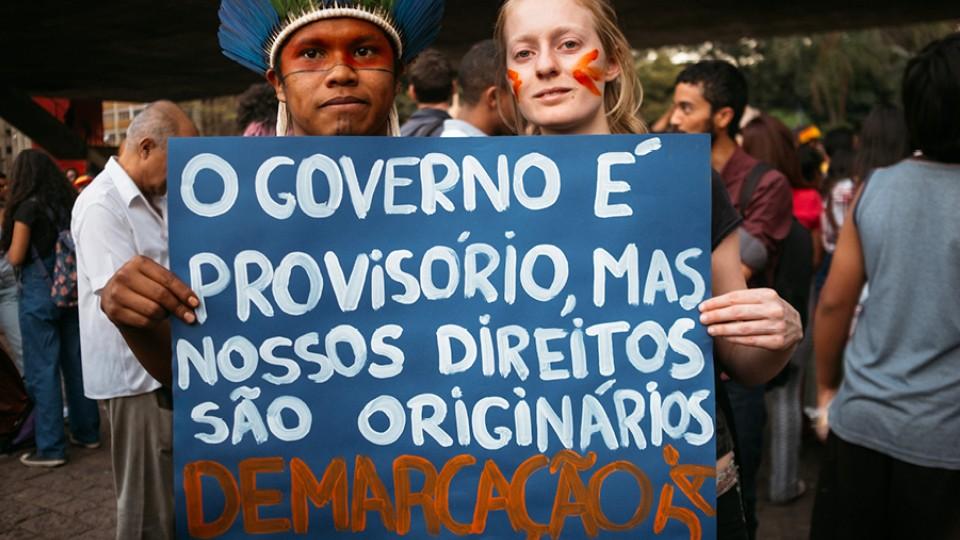 """Manifestação """"Jaraguá é Guarani!"""", contra marco temporal e pelas demarcações"""