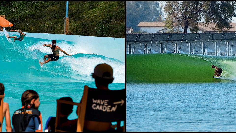 À esquerda, novo modelo de onda da Wavegarden, no País Basco: menor, ela é feita para ser instalada dentro das cidades. À direita, Kelly Slater, encaixado no tubo da onda artificial que ele criou em Lemoore, no interior da Califórnia