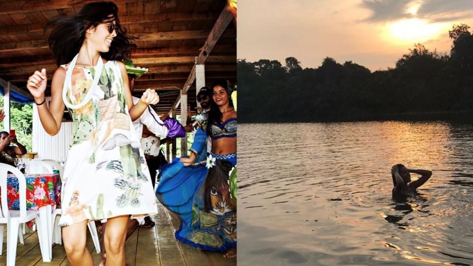 Bela em dois momentos: dançando Carimbó na balsa e tomando banho no Rio Iriri