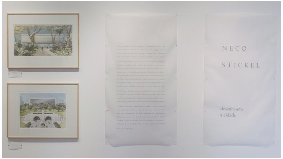 Detalhe da exposição Desenhando a Cidade: Neco Stickel, no Museu da Casa Brasileira
