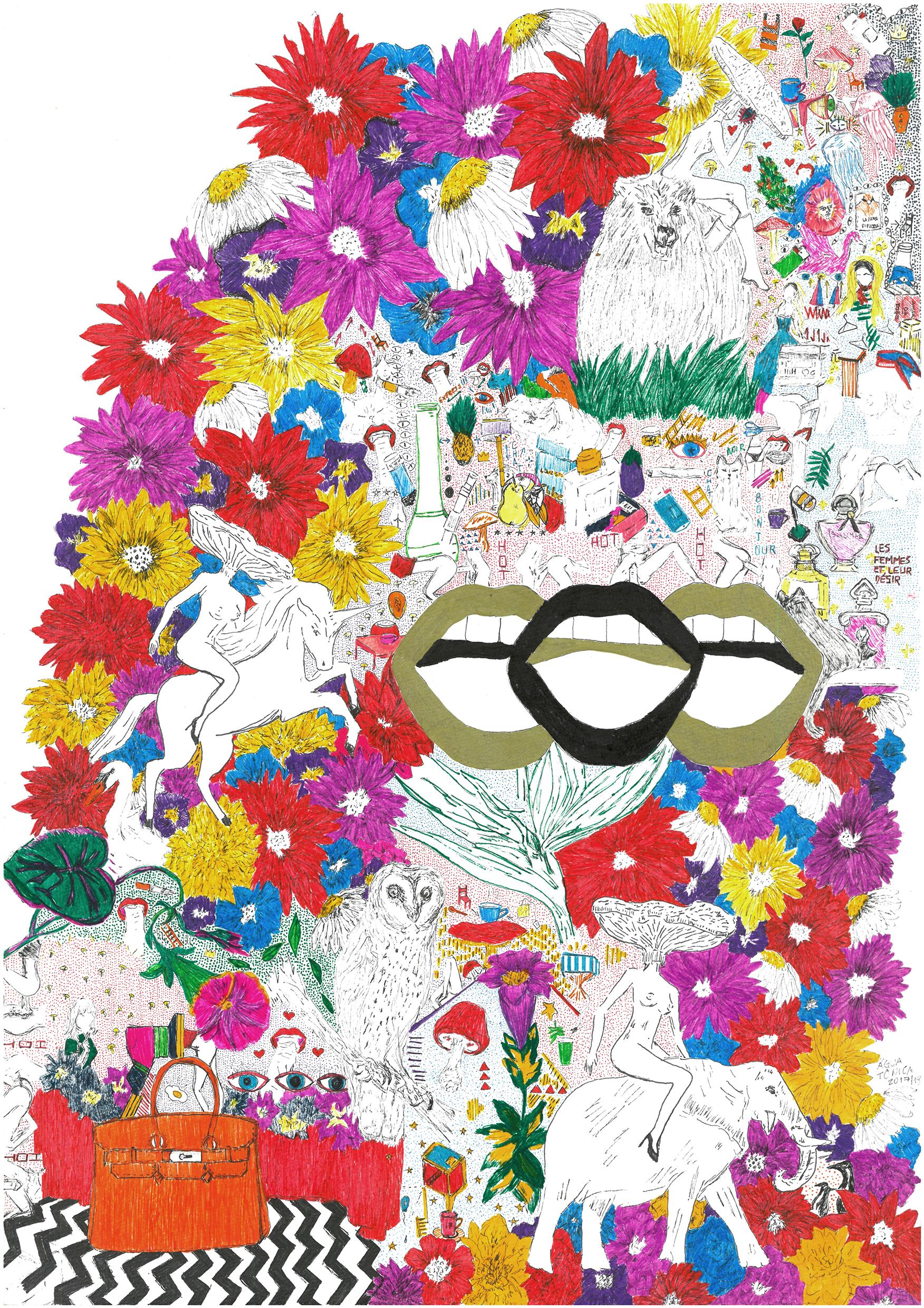 """""""As minhas obras sempre permearam os universos sexuais e lisérgicos, a maconha também é um tema recorrente, acredito que as pessoas não esperam muito que uma mulher transite por ai, parece ridicula essa ultima frase, mas acontece"""", diz Camila"""