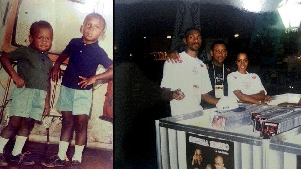 Celso de camisa verde, em 1970, com o irmão mais velho, César, assassinado em 1995; Na feira CD Expo, em 1988, com os funcionários da gravadora Zambia, MV Bill e Juliana
