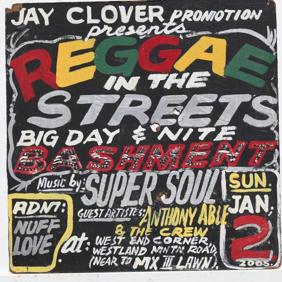 Um dos cartazes das festas de rua de Kingston, que, na época, eram considerados ilegais