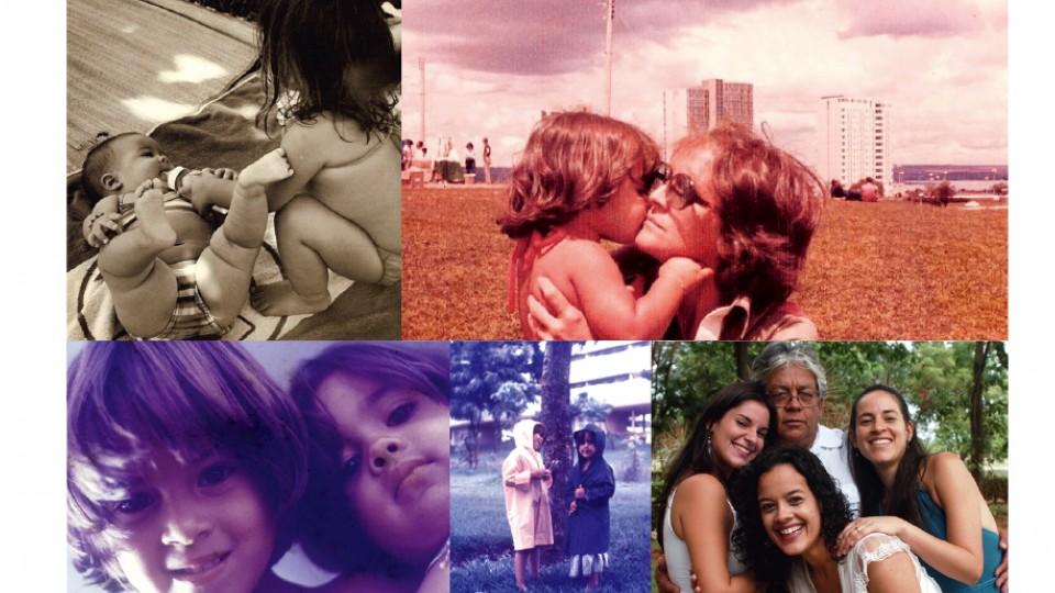 Ainda bebê, com a irmã Isadora; com a avó materna, Isa, em Brasília; em dois momentos da infância com a irmã e com o pai Zé Alberto, e as duas irmãs