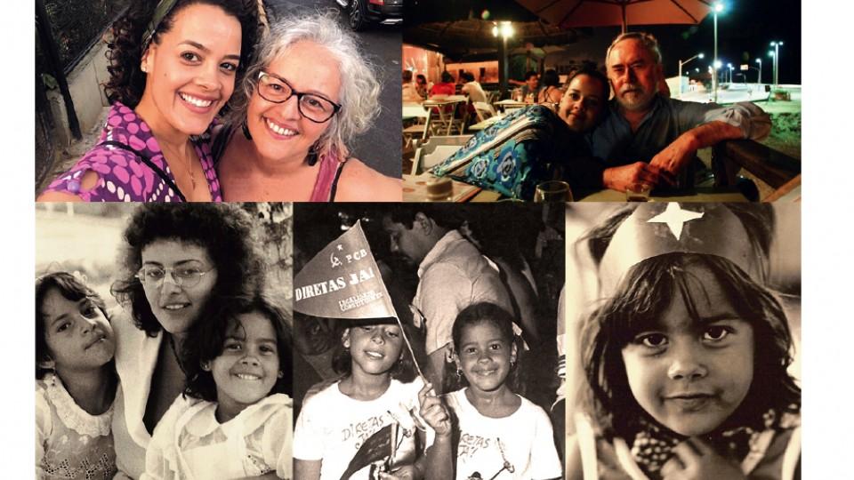 Com a mãe, Leila, durante a Marcha das Mulheres em Recife e com o padrasto, Sidney; Com mãe e a irmã Isadora, em passeata do movimento Diretas Já e fantasiada de Mulher-Maravilha