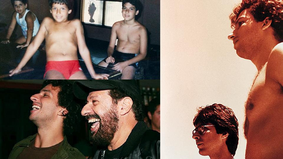 Em sentido horário, aos 10 anos, entre a irmã Julia Bosco, e o primo Gustavo Mucci; com o pai, João Bosco, em 2006; com o amigo e poeta Alberto Pucheu, em 2004