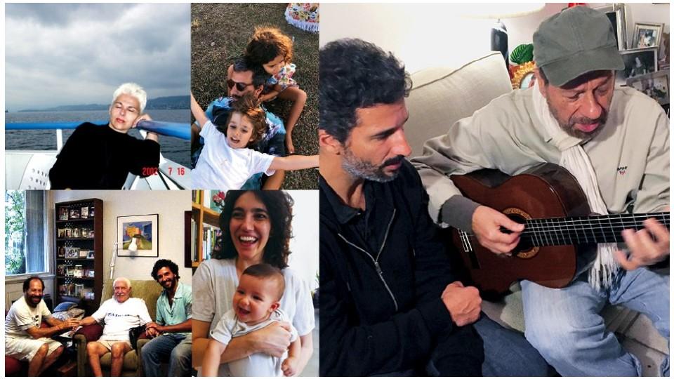 Em sentido horário, Angela Bosco, mãe de Francisco; com os filhos Iolanda e Lourenço; com o pai, compondo, em 2015; a ex-mulher Antonia Pellegrino; com o pai ao lado de Dorival Caymmi, em 2004