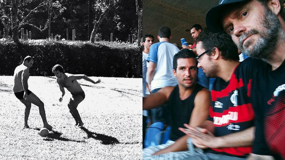 Driblando o filósofo Claudio Oliveira, em 2004; no Maracanã, com os amigos Fred Coelho, Felipe Scovino e Raul Mourão