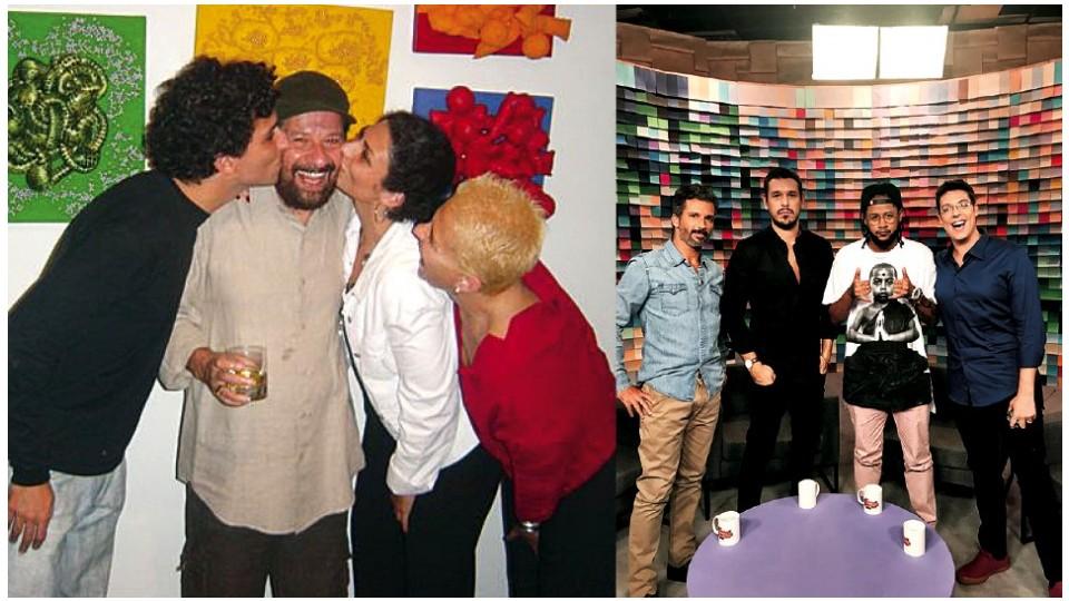 """Com o pai, o irmã e a mãe, em 2002; com João Vicente de Castro, Emicida e Fabio Porchat, colegas no talk show """"Papo de Segunda"""", do GNT"""