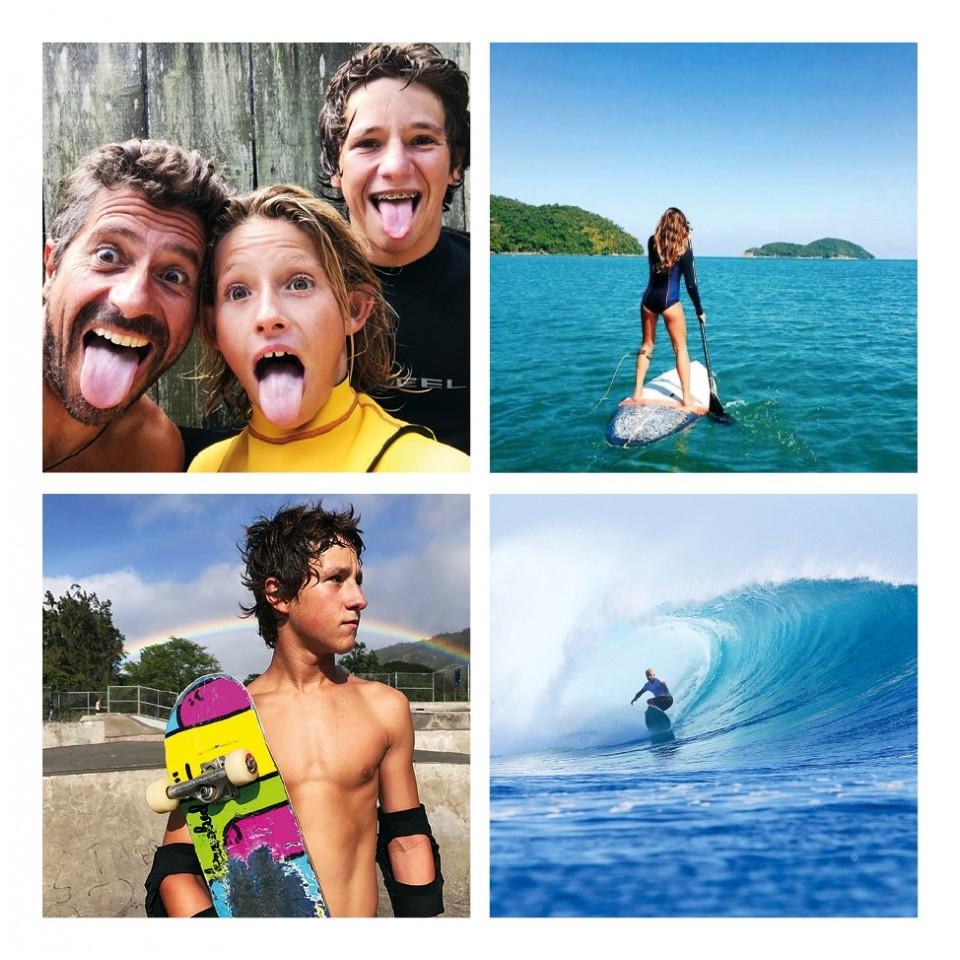 Em sentido horário, Alex Miranda com os filhos Ryan e Kalani; Paula Capobianco no stand-up paddle; Alex Miranda na onda; e Kalani