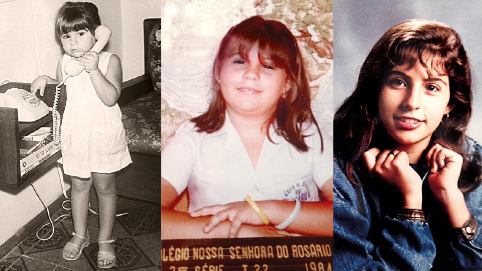 À esq. Na década de 80, em casa, no Rio; Fernanda na escola, no Rio de Janeiro, em 1984; adolescente, no início da década de 90