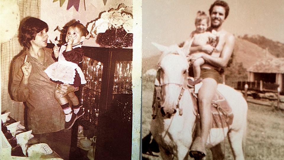 À esq. Em seu aniversário de 1 ano, no colo da mãe, Ana, no subúrbio carioca, em 1977; com o pai, Ricardo, em Silva Jardim, no interior fluminense, no mesmo ano