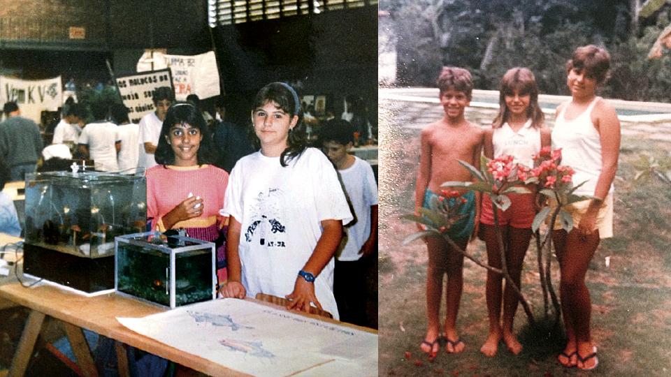 Fernanda (à esq.), na feira de ciências, durante o ginásio; e em 1987, com os irmãos Ricardo e Paula