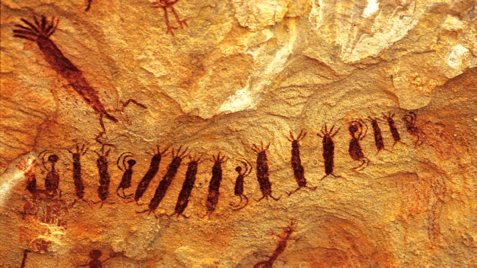 Detalhe de pintura rupestre da Serra da Capivara; descobertas por Niéde, registros alteram o que se sabia sobre a pré-história das Américas
