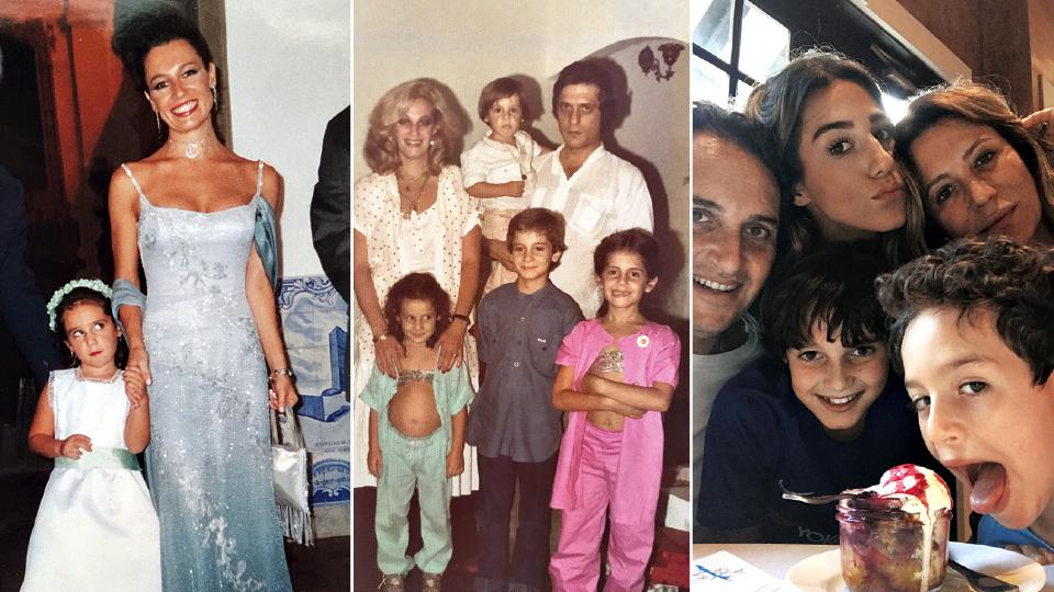 Com a filha, Camila, na igreja nossa senhora do Brasil, em 2002; em sentido horário, ela à frente da mãe, Regina, o pai, Antonio, com João Vinícius no colo, sua irmã, Maria Domitila, e o irmão, Antonio, em 1980; com o marido Claudio Trabulsi, 49, e os filhos Artur, 6, Felipe, 9, e a filha, Camila, 25