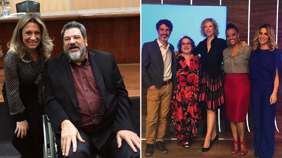 Com o filósofo Mário Sergio Cortella; com o jornalista Ivan Martins, a psicanalista Regina Navarro Lins e as jornalistas Marília Gabriela e Flávia Oliveira