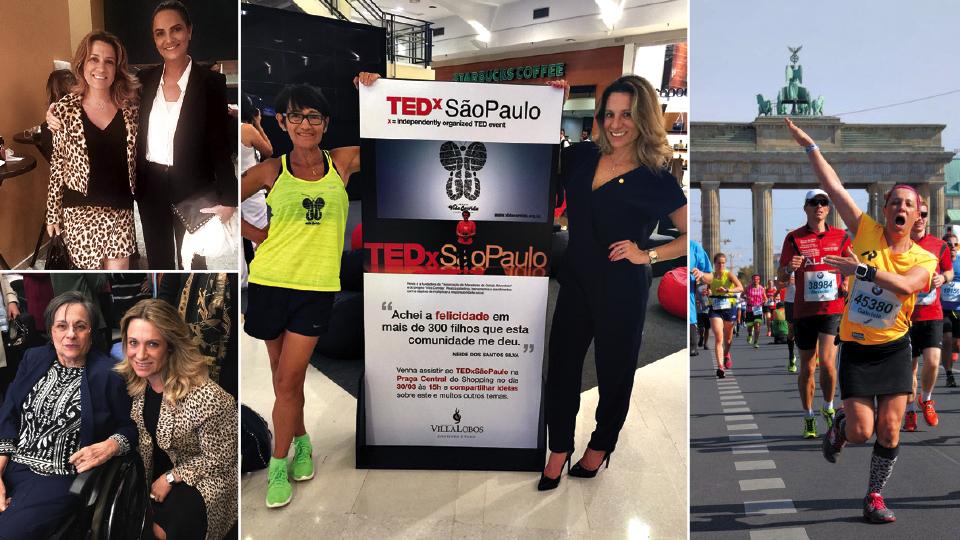 No cinema com a amiga Luiza Brunet, em São Paulo, em 2015; com Maria da Penha, em evento comemorativo da criação da Lei Maria da Penha, em 2017; Com amiga Neide Santos, no TEDxSãoPaulo, em 2015; e disputando a Maratona de Berlim, em 2016