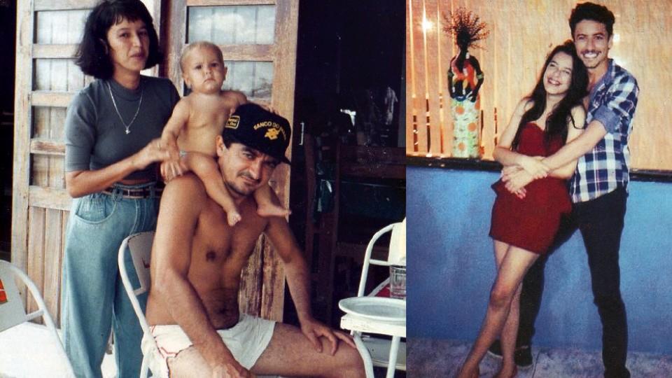 O ator entre os pais e com a irmã Rebeca