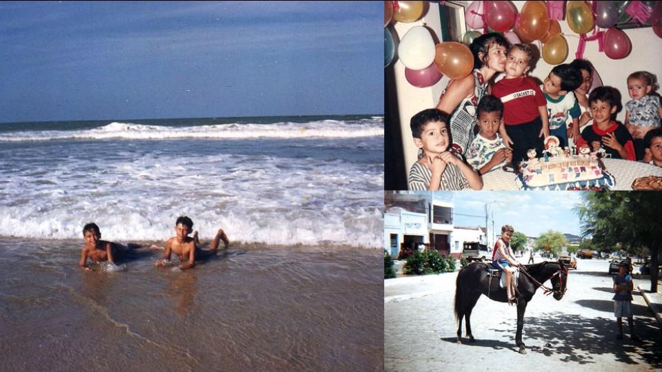 Em sentido horário: Jesuíta tomando banho de bar com o primo Michelson, na Praia do Futuro (2002), em seu aniversário de 4 anos e montado em um cavalo