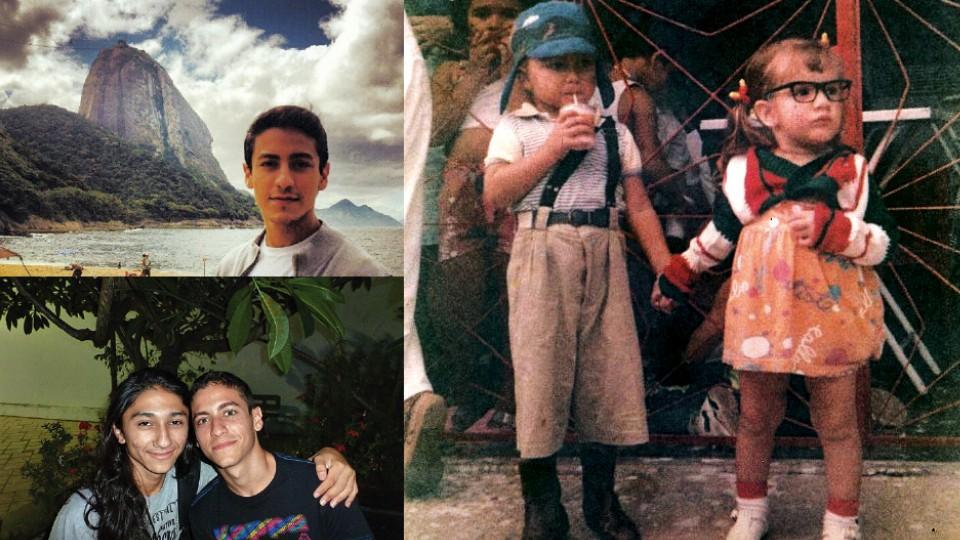 Em sentido horário: Jesuíta em sua primeira visita ao Rio; vestido de Chaves, no Carnaval de 1994; com o amigo e ator Diego Salvador, nas filmagens de Tatuagem, em 2013