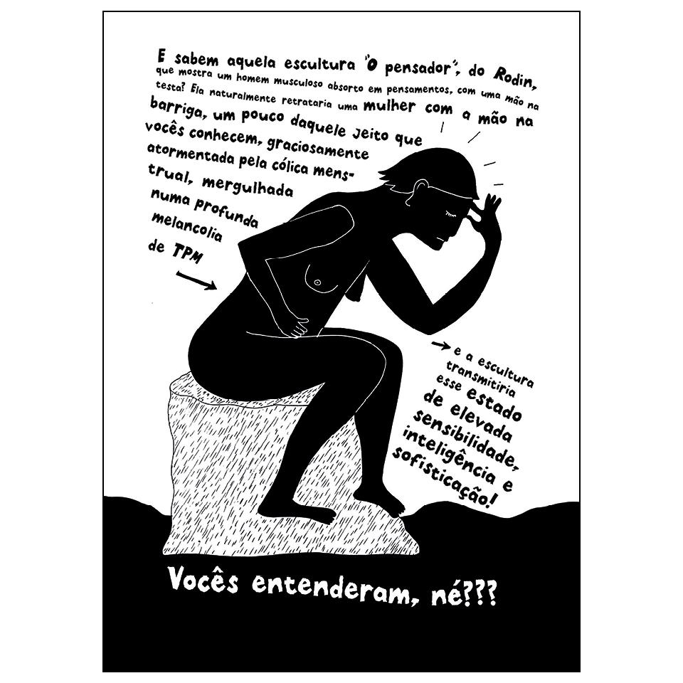 """Em """"A origem do mundo"""", a sueca Liv Strömquist associa a TPM com o aumento da sensibilidade e criatividade da mulher, fazendo referência à estátua """"O pensador"""", de Rodin"""
