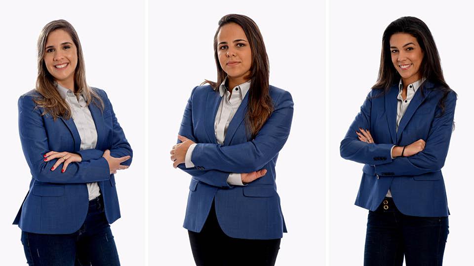 Manuela Avena (à esq.), Isabelly Morais e Renata Silveira compõem o time de narradores da Fox Sports durante a Copa do Mundo na Rússia