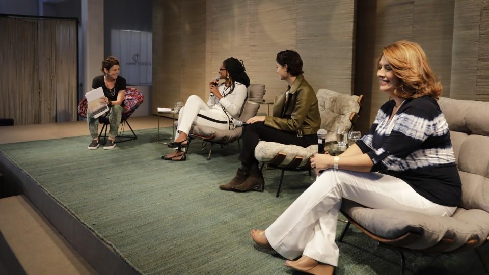 No domingo, Maristela Salles, superintendente estadual do Banco do Brasil, participou com Djamila Ribeiro, Sophie Charlotte e Milly Lacombe