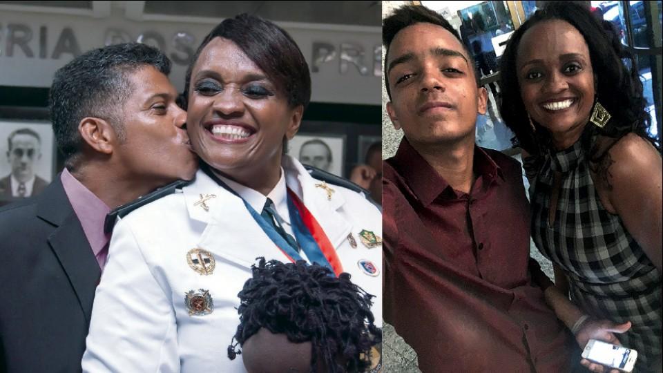 A major com o marido Rafael Costa recebendo a Comenda 2 de Julho, honraria da polícia (2017); com o filho João Paulo (2017)