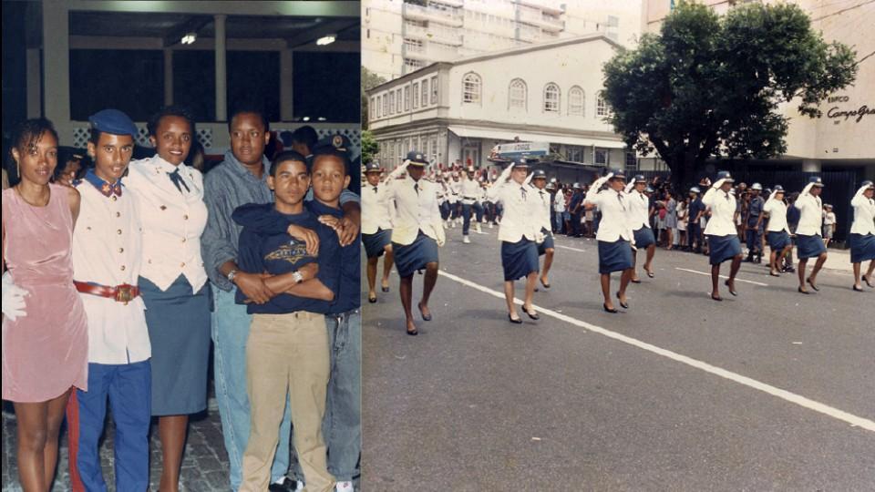 A major entre primos e irmãos, na Vila Policial Militar do Bonfim (1995); e no primeiro desfile da Academia da Polícia Militar da Bahia que contou com mulheres (1992)