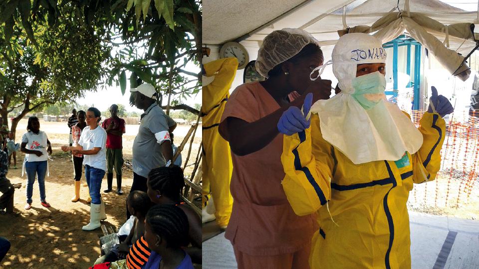 Ionara em Monróvia (Libéria), em 2015, comandando atividade para diminuir a estigmatização contra sobreviventes de ebola (à esq.); se preparando para entrar em área de alto risco no centro de tratamento de ebola, na Libéria, em 2015